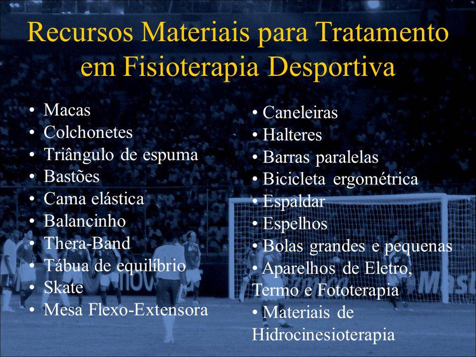 Recursos Materiais para Tratamento em Fisioterapia Desportiva Macas Colchonetes Triângulo de espuma Bastões Cama elástica Balancinho Thera-Band Tábua