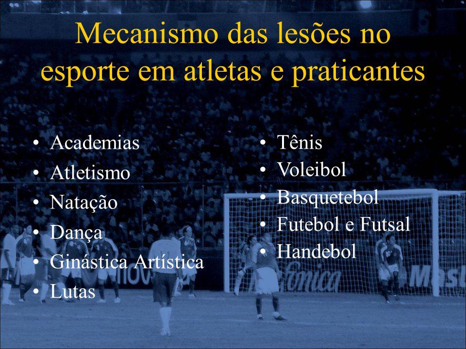 Mecanismo das lesões no esporte em atletas e praticantes Academias Atletismo Natação Dança Ginástica Artística Lutas Tênis Voleibol Basquetebol Futebo