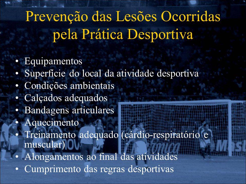 Prevenção das Lesões Ocorridas pela Prática Desportiva Equipamentos Superfície do local da atividade desportiva Condições ambientais Calçados adequado