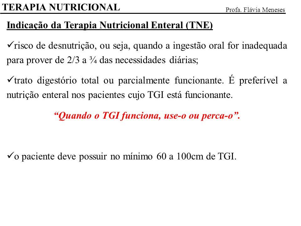 TERAPIA NUTRICIONAL Profa. Flávia Meneses Indicação da Terapia Nutricional Enteral (TNE) risco de desnutrição, ou seja, quando a ingestão oral for ina