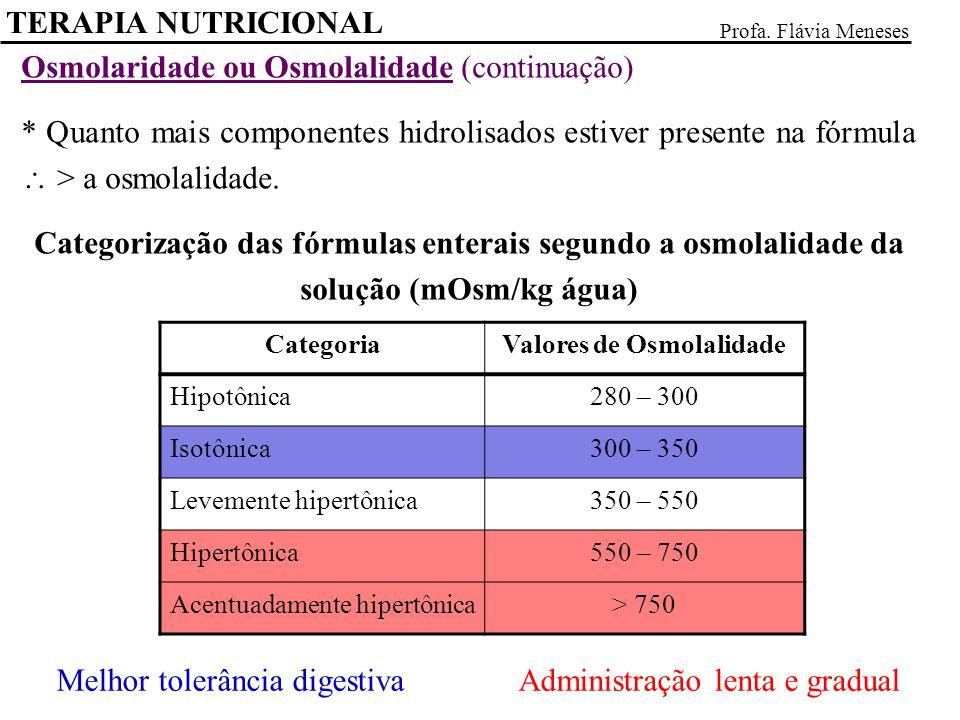 TERAPIA NUTRICIONAL Profa. Flávia Meneses Osmolaridade ou Osmolalidade (continuação) * Quanto mais componentes hidrolisados estiver presente na fórmul