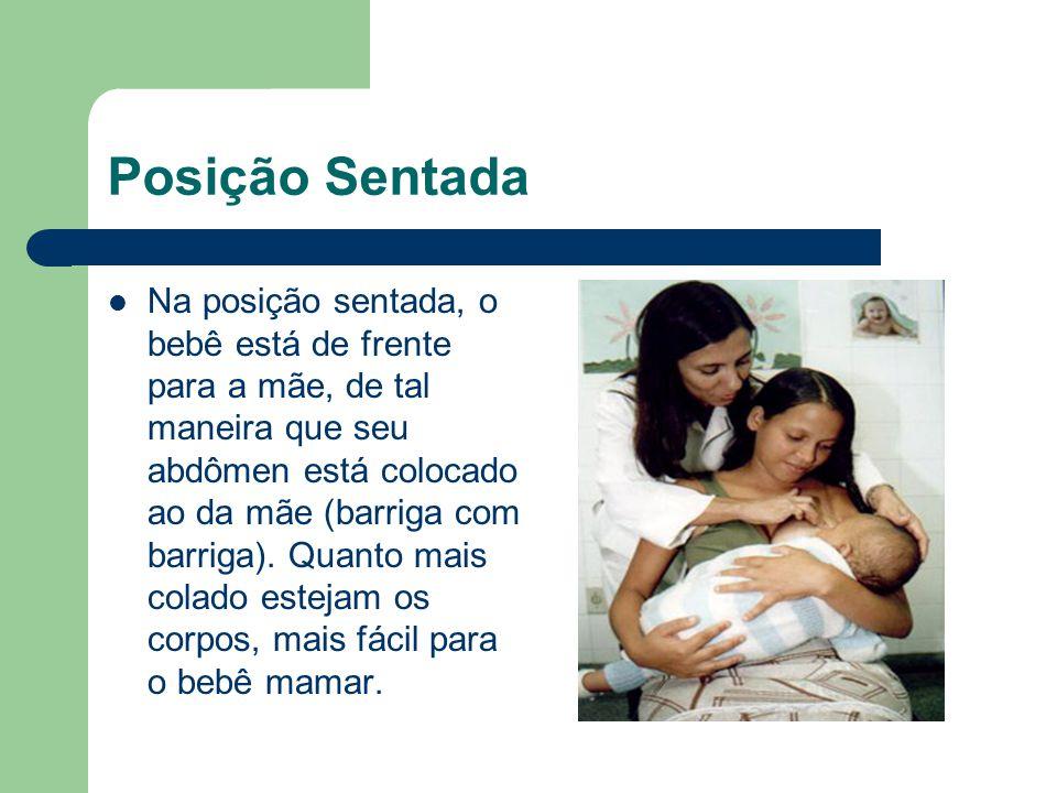 Posição Sentada Na posição sentada, o bebê está de frente para a mãe, de tal maneira que seu abdômen está colocado ao da mãe (barriga com barriga). Qu