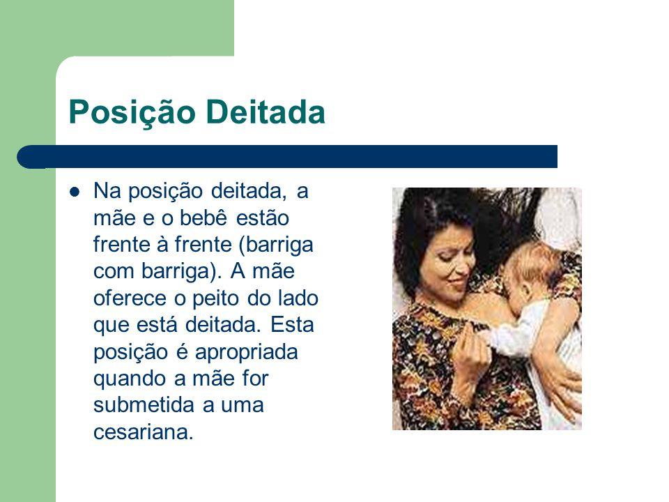 Posição Deitada Na posição deitada, a mãe e o bebê estão frente à frente (barriga com barriga). A mãe oferece o peito do lado que está deitada. Esta p