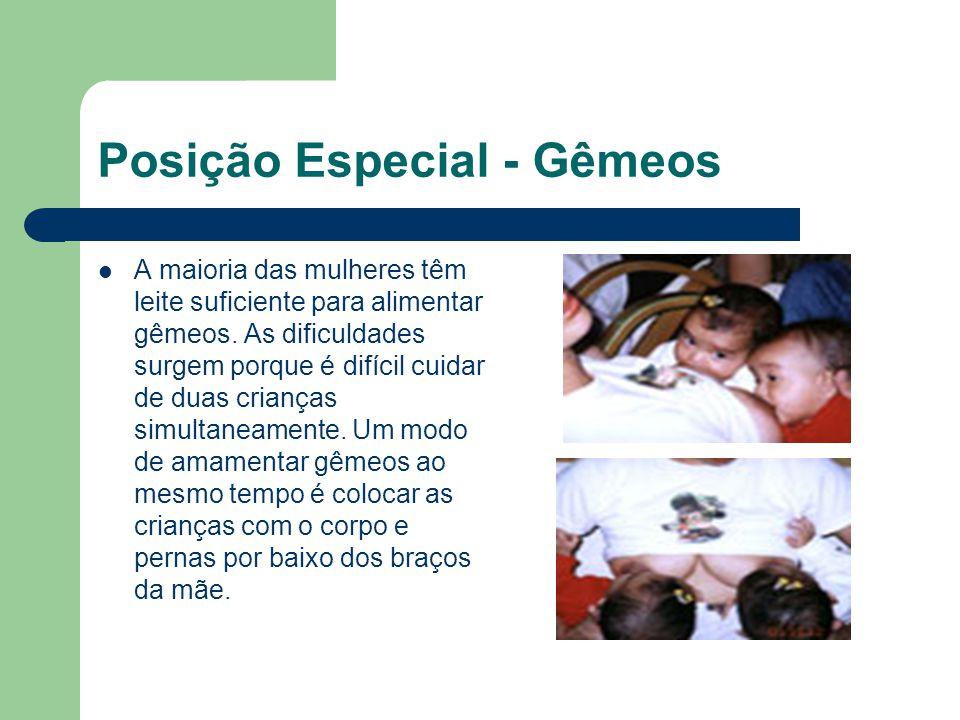 Posição Especial - Gêmeos A maioria das mulheres têm leite suficiente para alimentar gêmeos. As dificuldades surgem porque é difícil cuidar de duas cr