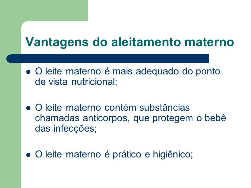 Vantagens do aleitamento materno O leite materno é mais adequado do ponto de vista nutricional; O leite materno contém substâncias chamadas anticorpos