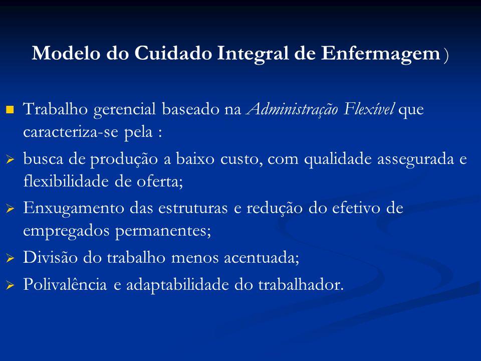 Modelo do Cuidado Integral de Enfermagem ) Trabalho gerencial baseado na Administração Flexível que caracteriza-se pela : busca de produção a baixo cu