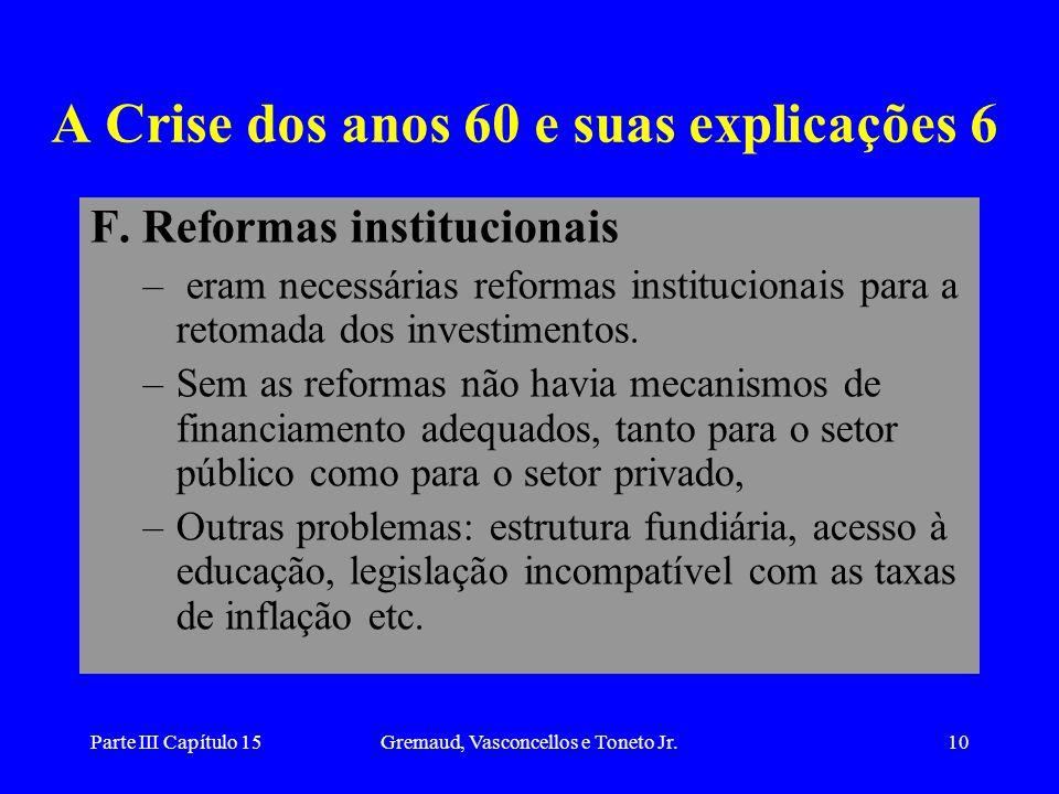 Parte III Capítulo 15Gremaud, Vasconcellos e Toneto Jr.10 A Crise dos anos 60 e suas explicações 6 F. Reformas institucionais – eram necessárias refor