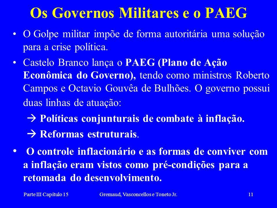 Parte III Capítulo 15Gremaud, Vasconcellos e Toneto Jr.11 Os Governos Militares e o PAEG O Golpe militar impõe de forma autoritária uma solução para a