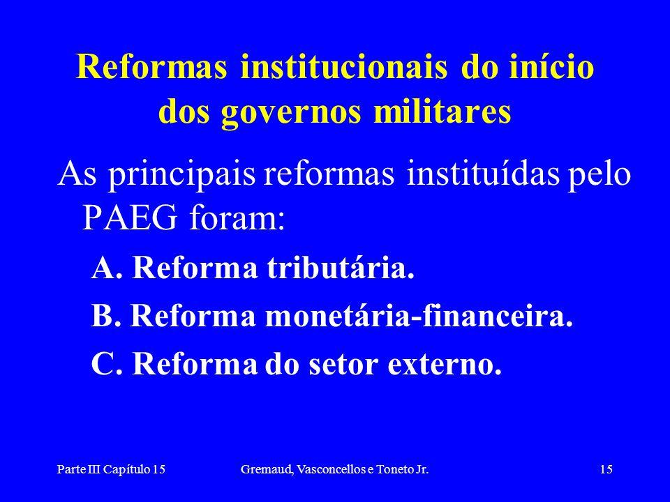Parte III Capítulo 15Gremaud, Vasconcellos e Toneto Jr.15 Reformas institucionais do início dos governos militares As principais reformas instituídas