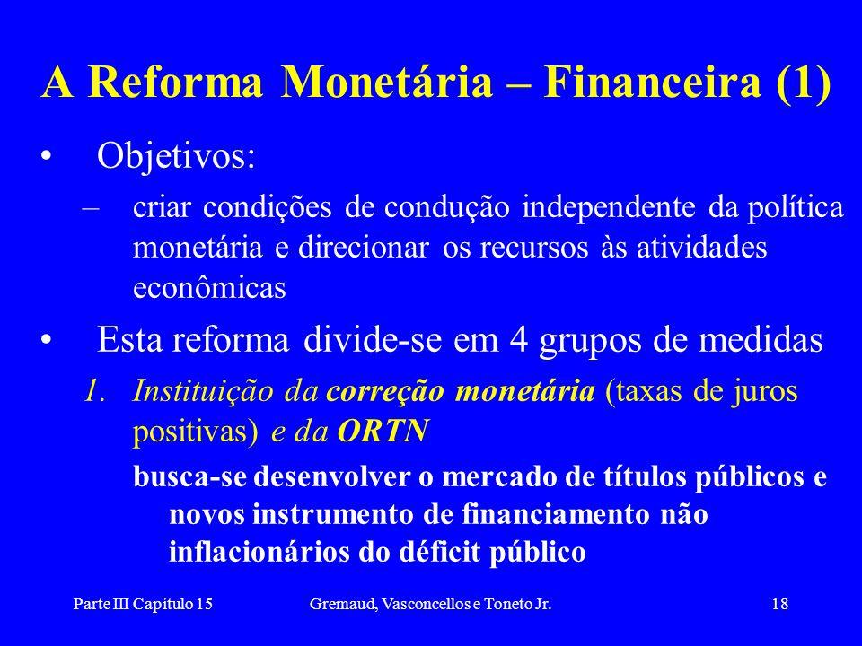 Parte III Capítulo 15Gremaud, Vasconcellos e Toneto Jr.18 A Reforma Monetária – Financeira (1) Objetivos: –criar condições de condução independente da