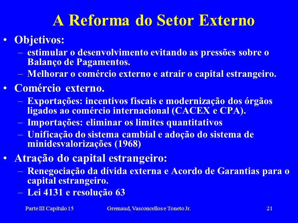Parte III Capítulo 15Gremaud, Vasconcellos e Toneto Jr.21 A Reforma do Setor Externo Objetivos: –estimular o desenvolvimento evitando as pressões sobr