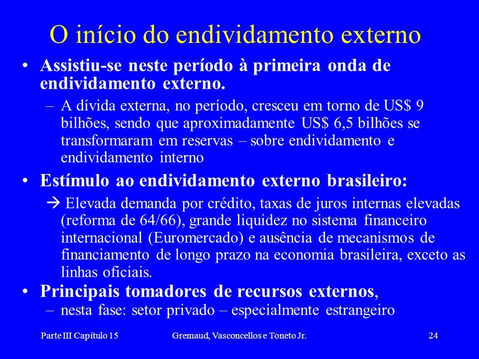 Parte III Capítulo 15Gremaud, Vasconcellos e Toneto Jr.24 O início do endividamento externo Assistiu-se neste período à primeira onda de endividamento