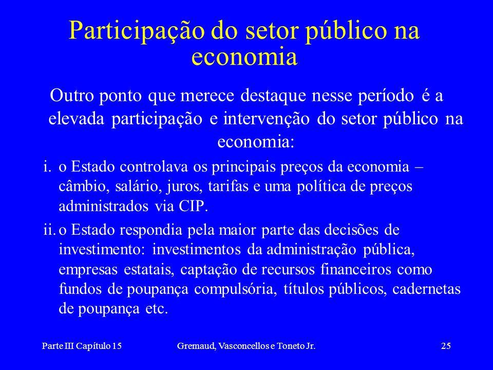 Parte III Capítulo 15Gremaud, Vasconcellos e Toneto Jr.25 Participação do setor público na economia Outro ponto que merece destaque nesse período é a