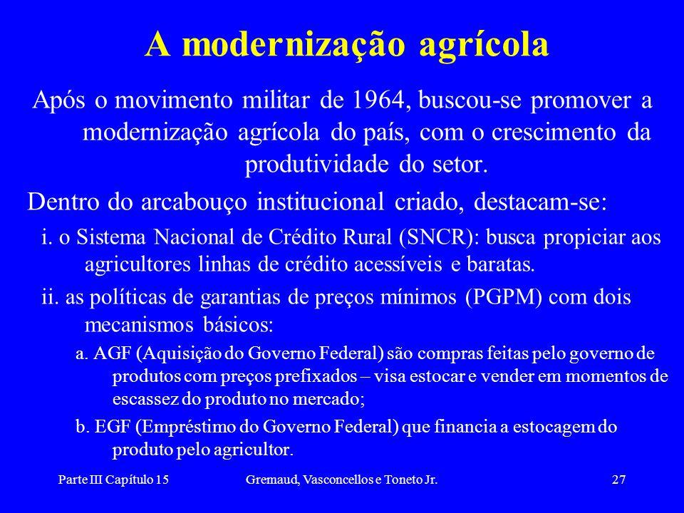 Parte III Capítulo 15Gremaud, Vasconcellos e Toneto Jr.27 A modernização agrícola Após o movimento militar de 1964, buscou-se promover a modernização