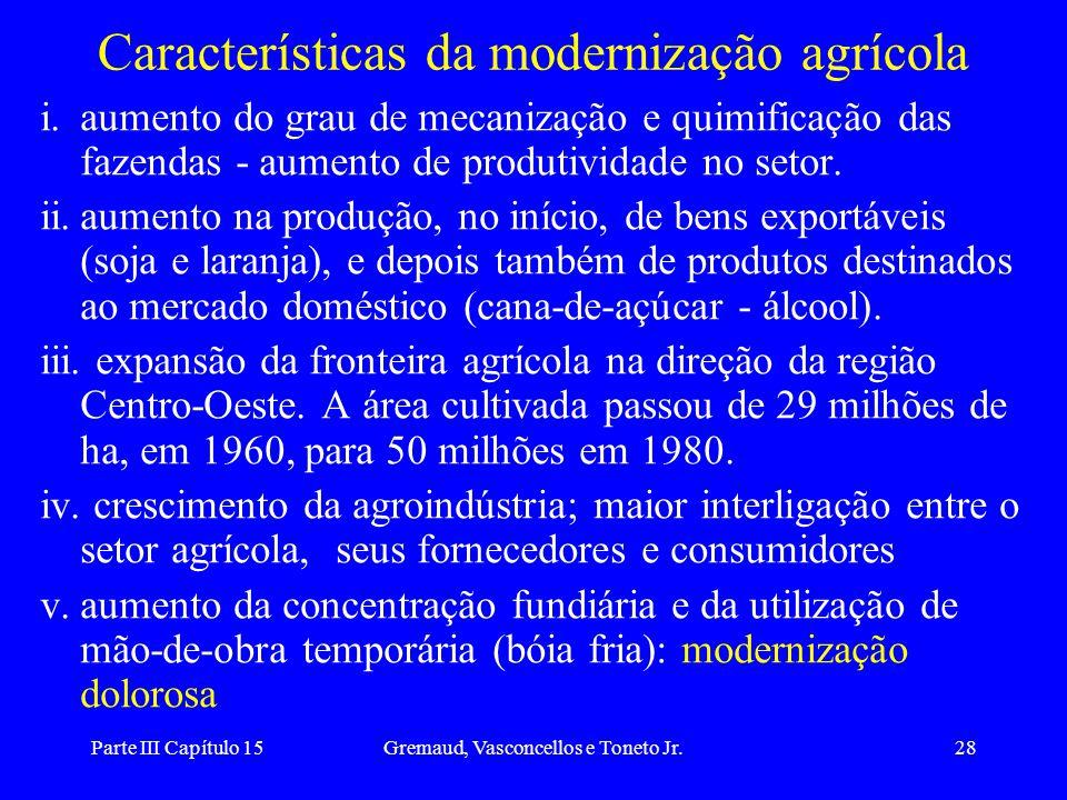 Parte III Capítulo 15Gremaud, Vasconcellos e Toneto Jr.28 Características da modernização agrícola i.aumento do grau de mecanização e quimificação das