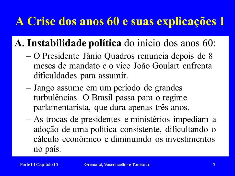 Parte III Capítulo 15Gremaud, Vasconcellos e Toneto Jr.5 A Crise dos anos 60 e suas explicações 1 A. Instabilidade política do início dos anos 60: –O