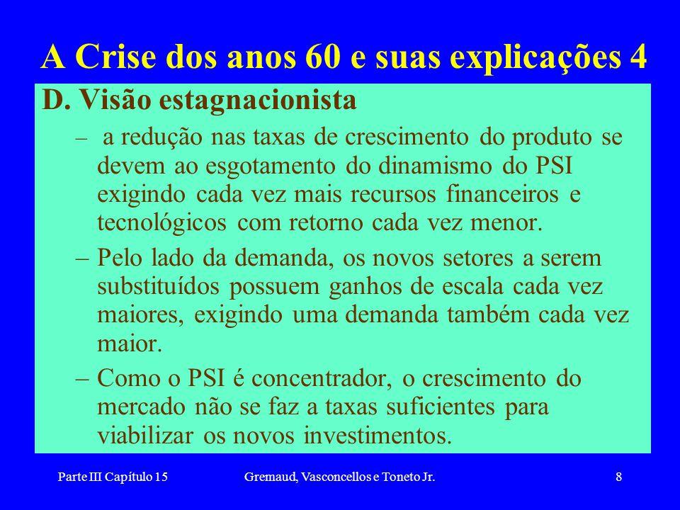 Parte III Capítulo 15Gremaud, Vasconcellos e Toneto Jr.8 A Crise dos anos 60 e suas explicações 4 D. Visão estagnacionista – a redução nas taxas de cr