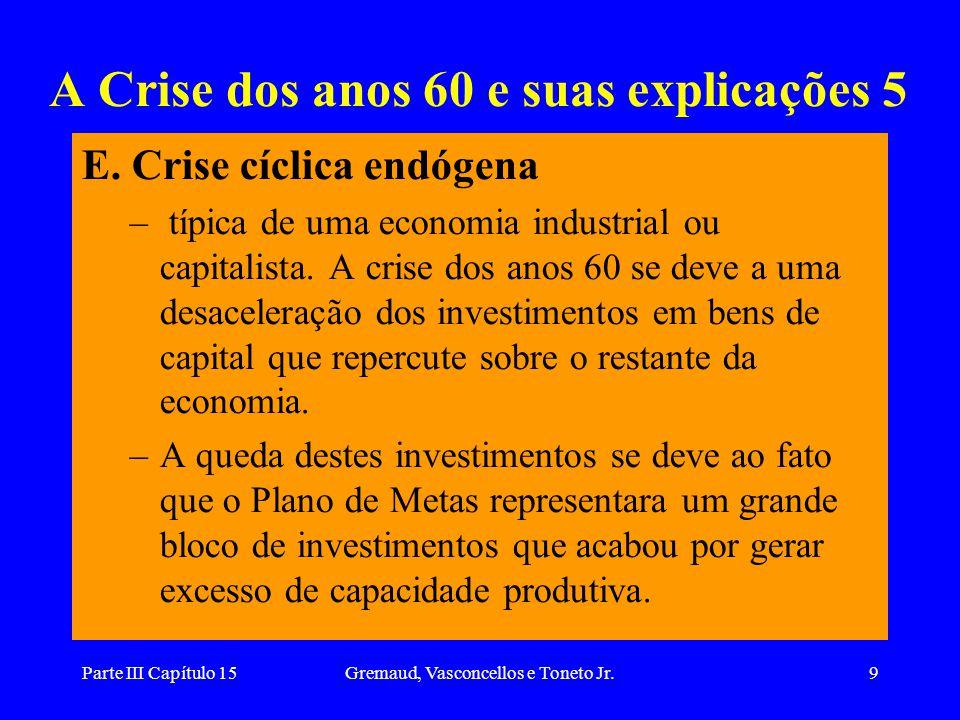 Parte III Capítulo 15Gremaud, Vasconcellos e Toneto Jr.9 A Crise dos anos 60 e suas explicações 5 E. Crise cíclica endógena – típica de uma economia i