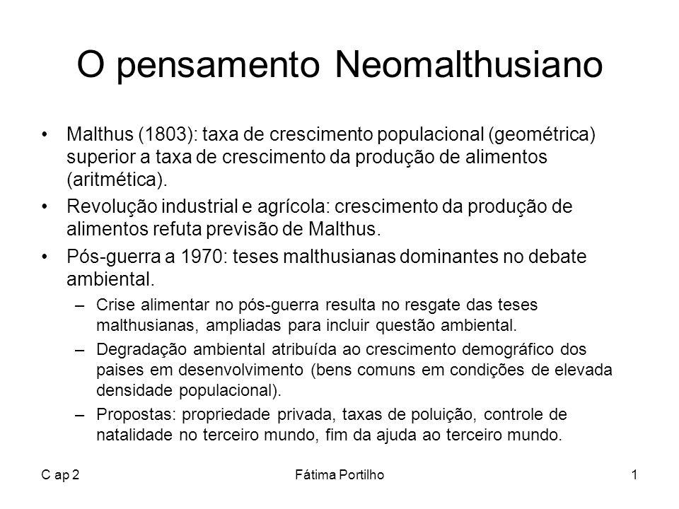 C ap 2Fátima Portilho1 O pensamento Neomalthusiano Malthus (1803): taxa de crescimento populacional (geométrica) superior a taxa de crescimento da pro
