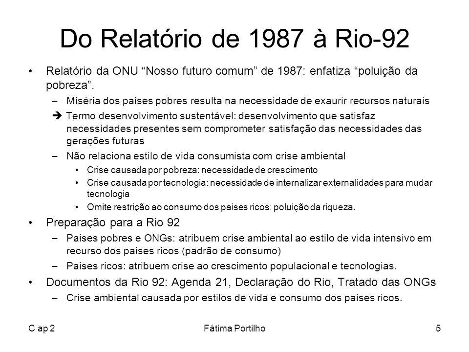 C ap 2Fátima Portilho5 Do Relatório de 1987 à Rio-92 Relatório da ONU Nosso futuro comum de 1987: enfatiza poluição da pobreza. –Miséria dos paises po