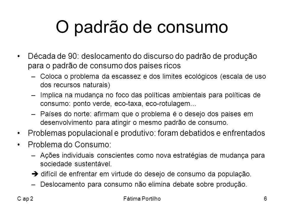 C ap 2Fátima Portilho6 O padrão de consumo Década de 90: deslocamento do discurso do padrão de produção para o padrão de consumo dos paises ricos –Col