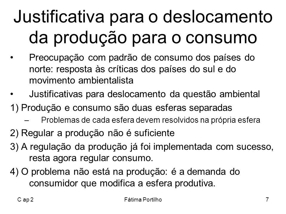 C ap 2Fátima Portilho8 Justificativa para o deslocamento da produção para o consumo Justificativas: analisam os processo de produção e consumo de forma separada.