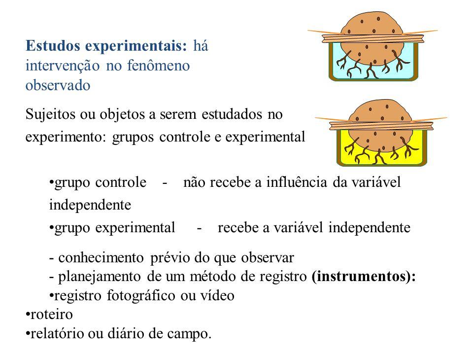 Estudos experimentais: há intervenção no fenômeno observado Sujeitos ou objetos a serem estudados no experimento: grupos controle e experimental grupo