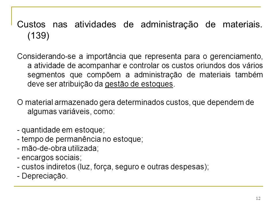 12 Custos nas atividades de administração de materiais.