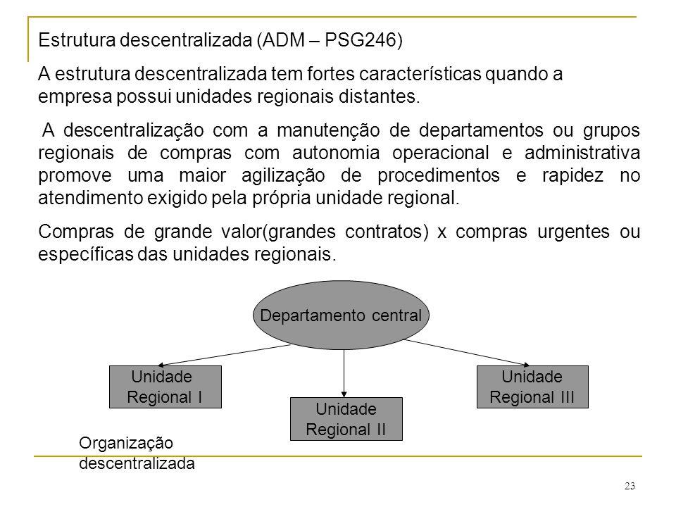 23 Estrutura descentralizada (ADM – PSG246) A estrutura descentralizada tem fortes características quando a empresa possui unidades regionais distantes.