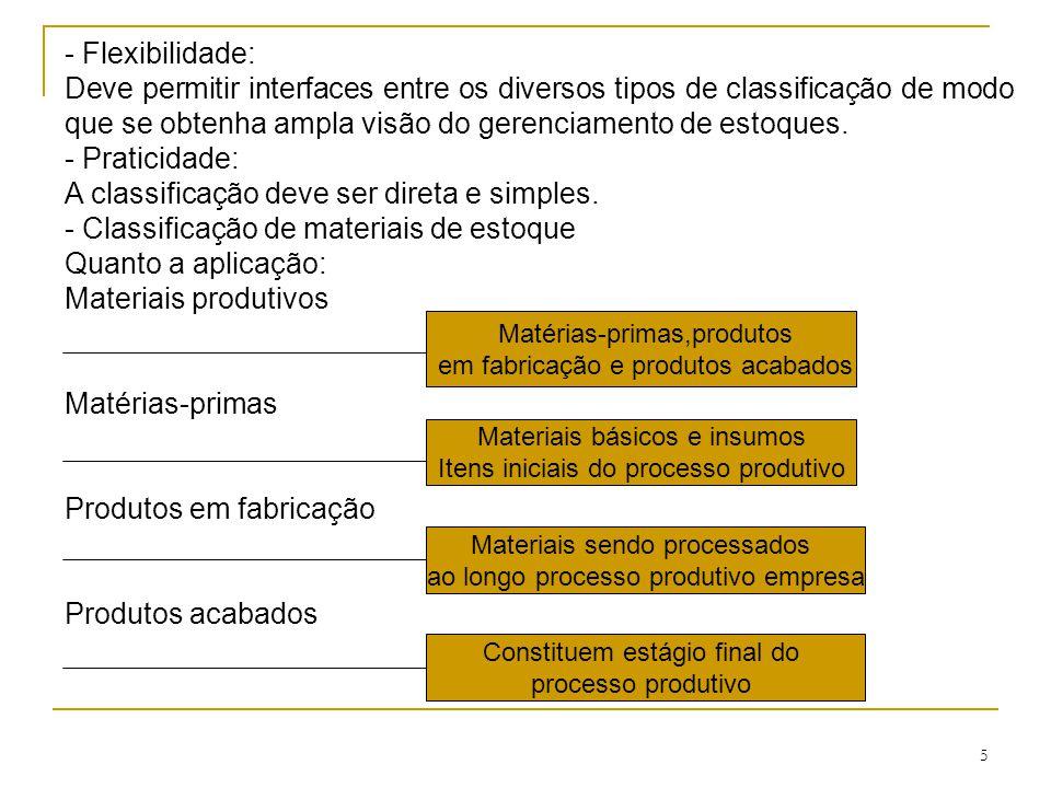 5 - Flexibilidade: Deve permitir interfaces entre os diversos tipos de classificação de modo que se obtenha ampla visão do gerenciamento de estoques.