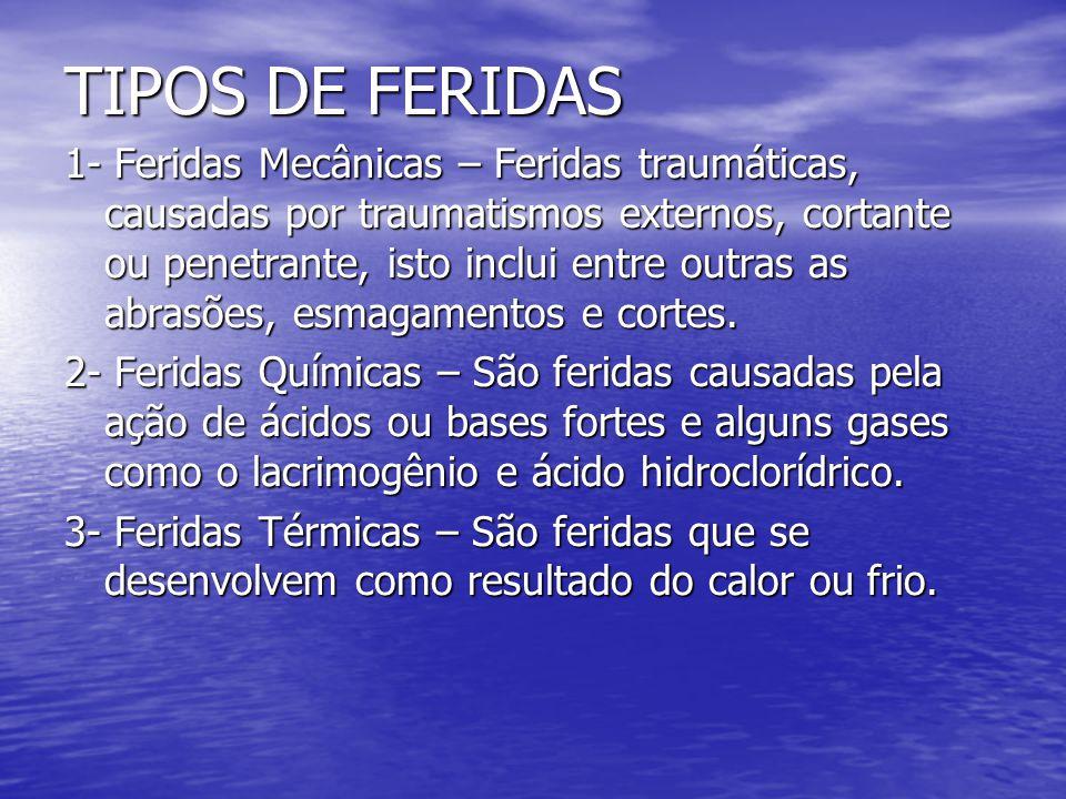 TIPOS DE FERIDAS 1- Feridas Mecânicas – Feridas traumáticas, causadas por traumatismos externos, cortante ou penetrante, isto inclui entre outras as a