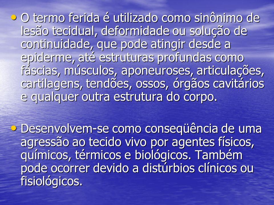 CLASSIFICAÇÃO DAS FERIDAS Feridas limpas contaminadas (potencialmente contaminadas) – Ocorre em tecidos de baixa colonização, sem contaminação significativa prévia, ou durante o ato cirúrgico.
