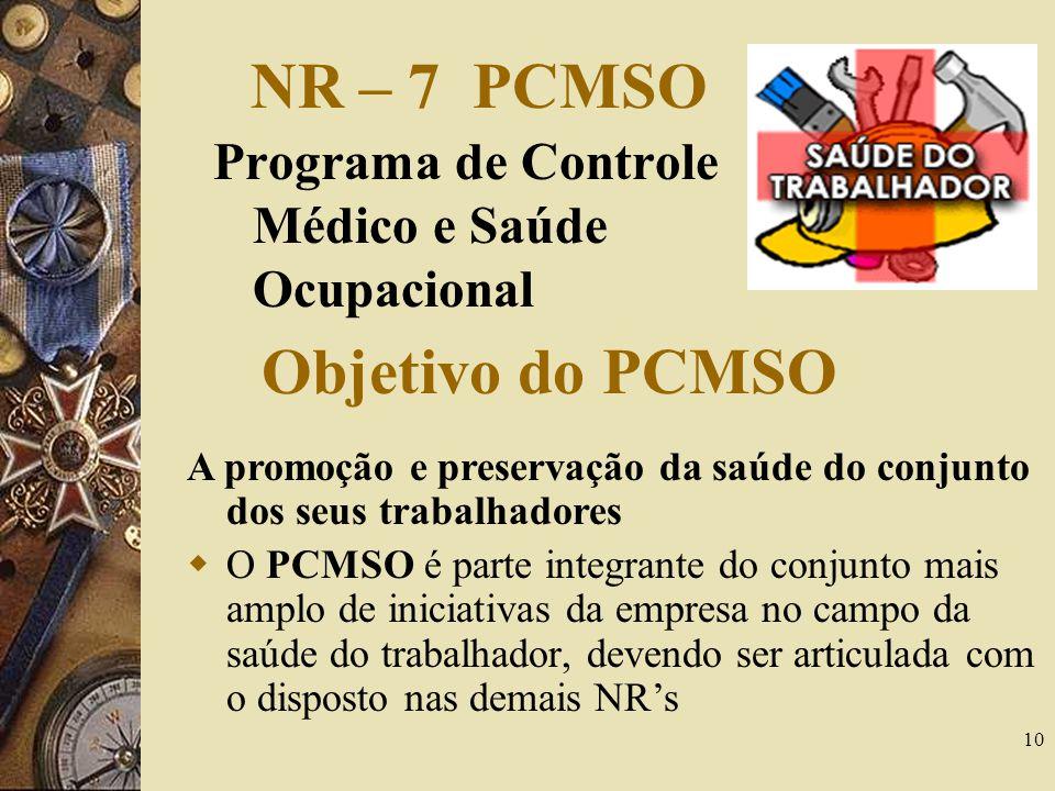 10 NR – 7 PCMSO Programa de Controle Médico e Saúde Ocupacional A promoção e preservação da saúde do conjunto dos seus trabalhadores O PCMSO é parte i