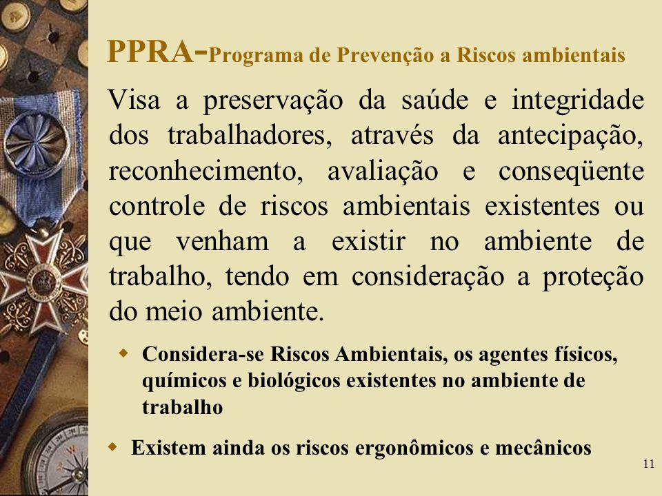 11 PPRA - Programa de Prevenção a Riscos ambientais Visa a preservação da saúde e integridade dos trabalhadores, através da antecipação, reconheciment