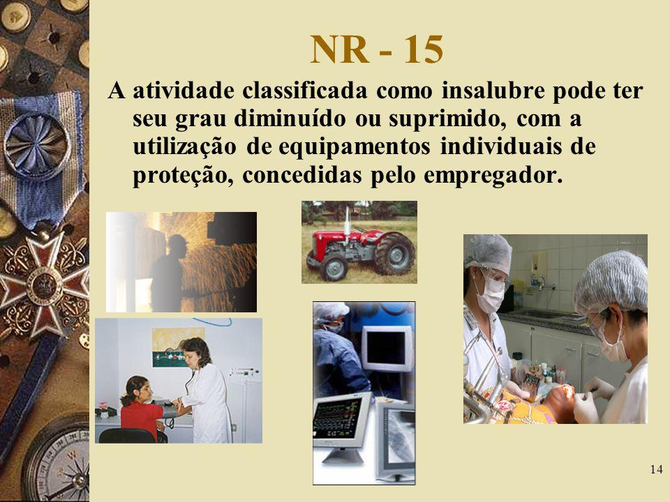 14 NR - 15 A atividade classificada como insalubre pode ter seu grau diminuído ou suprimido, com a utilização de equipamentos individuais de proteção,