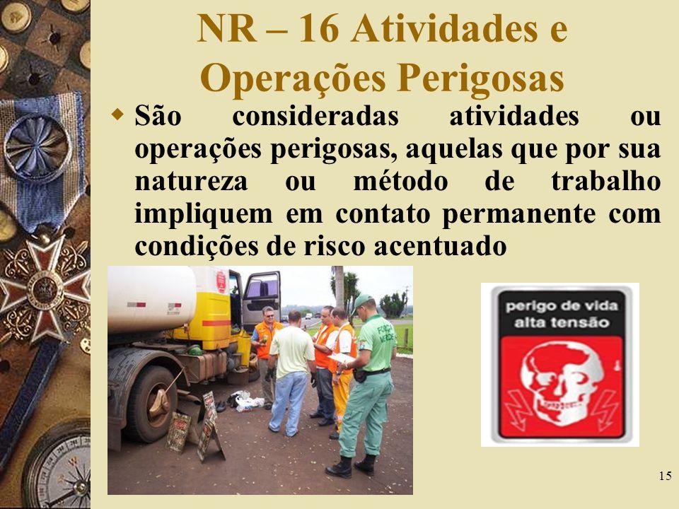 15 NR – 16 Atividades e Operações Perigosas São consideradas atividades ou operações perigosas, aquelas que por sua natureza ou método de trabalho imp