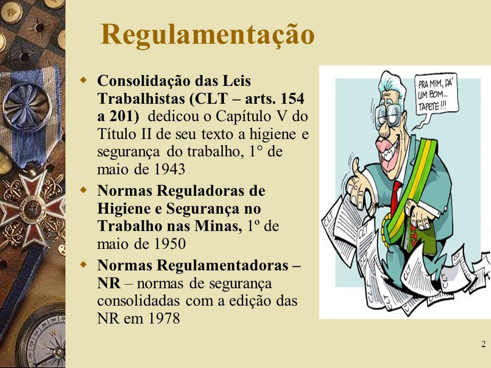 2 Regulamentação Consolidação das Leis Trabalhistas (CLT – arts. 154 a 201) dedicou o Capítulo V do Título II de seu texto a higiene e segurança do tr