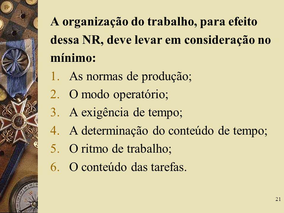 21 A organização do trabalho, para efeito dessa NR, deve levar em consideração no mínimo: 1.As normas de produção; 2.O modo operatório; 3.A exigência