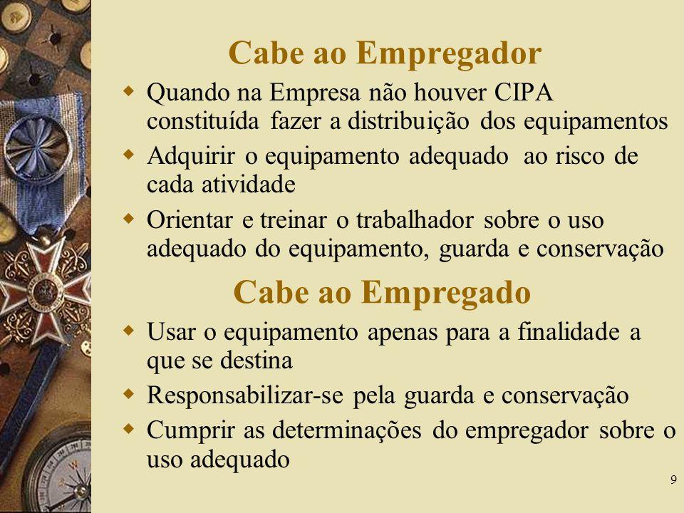 9 Cabe ao Empregador Quando na Empresa não houver CIPA constituída fazer a distribuição dos equipamentos Adquirir o equipamento adequado ao risco de c