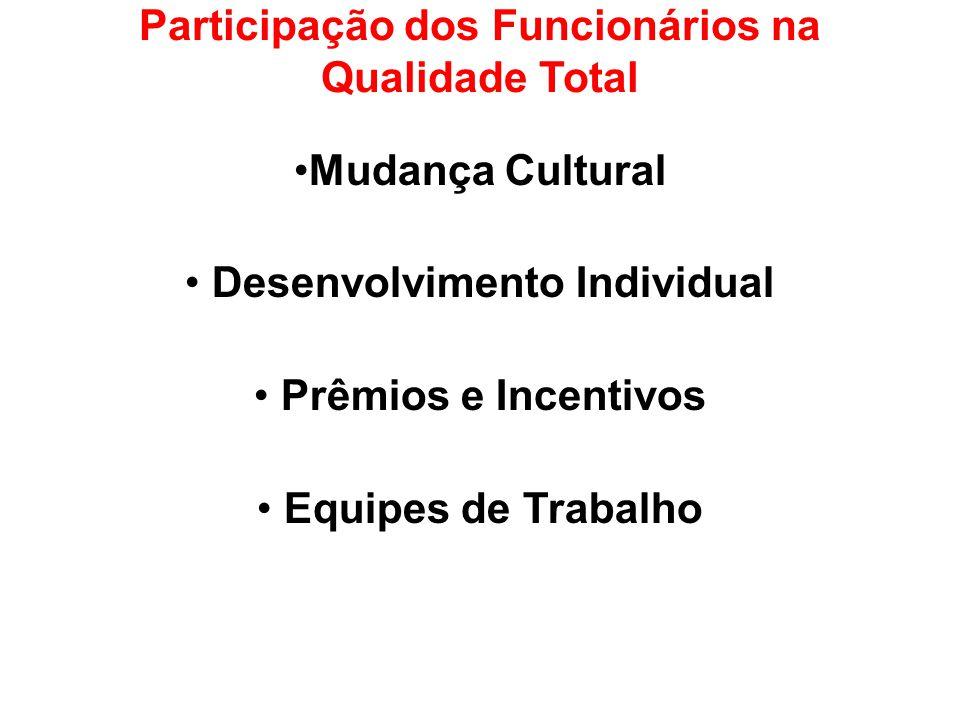 Participação dos Funcionários na Qualidade Total Mudança Cultural Desenvolvimento Individual Prêmios e Incentivos Equipes de Trabalho