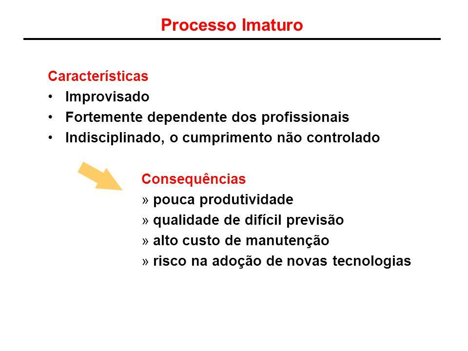 Processo Imaturo Características Improvisado Fortemente dependente dos profissionais Indisciplinado, o cumprimento não controlado Consequências »pouca