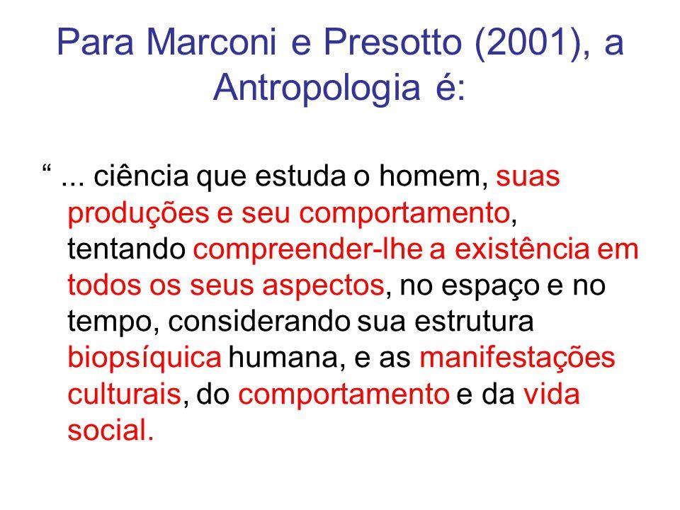 Para Marconi e Presotto (2001), a Antropologia é:... ciência que estuda o homem, suas produções e seu comportamento, tentando compreender-lhe a existê
