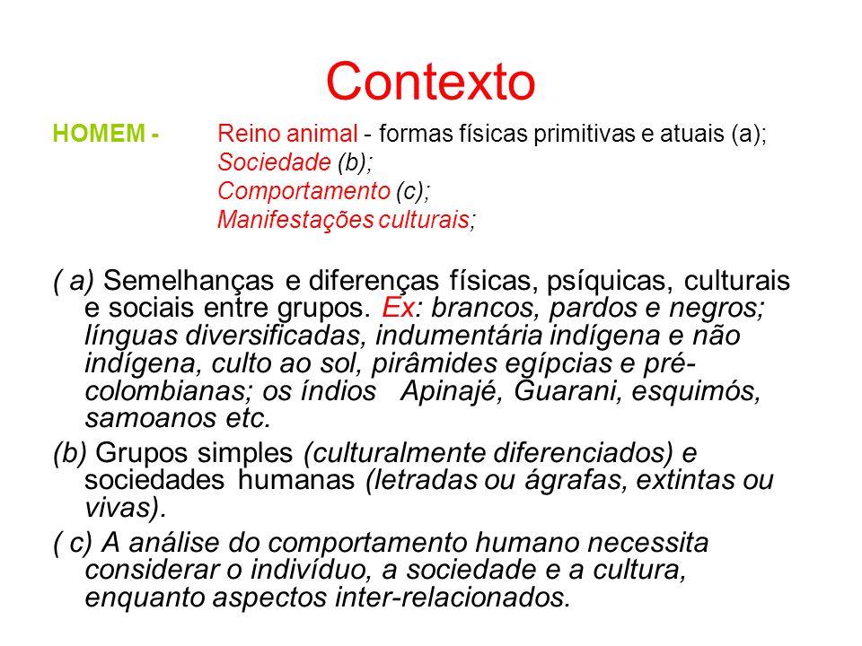 Contexto HOMEM - Reino animal - formas físicas primitivas e atuais (a); Sociedade (b); Comportamento (c); Manifestações culturais; ( a) Semelhanças e