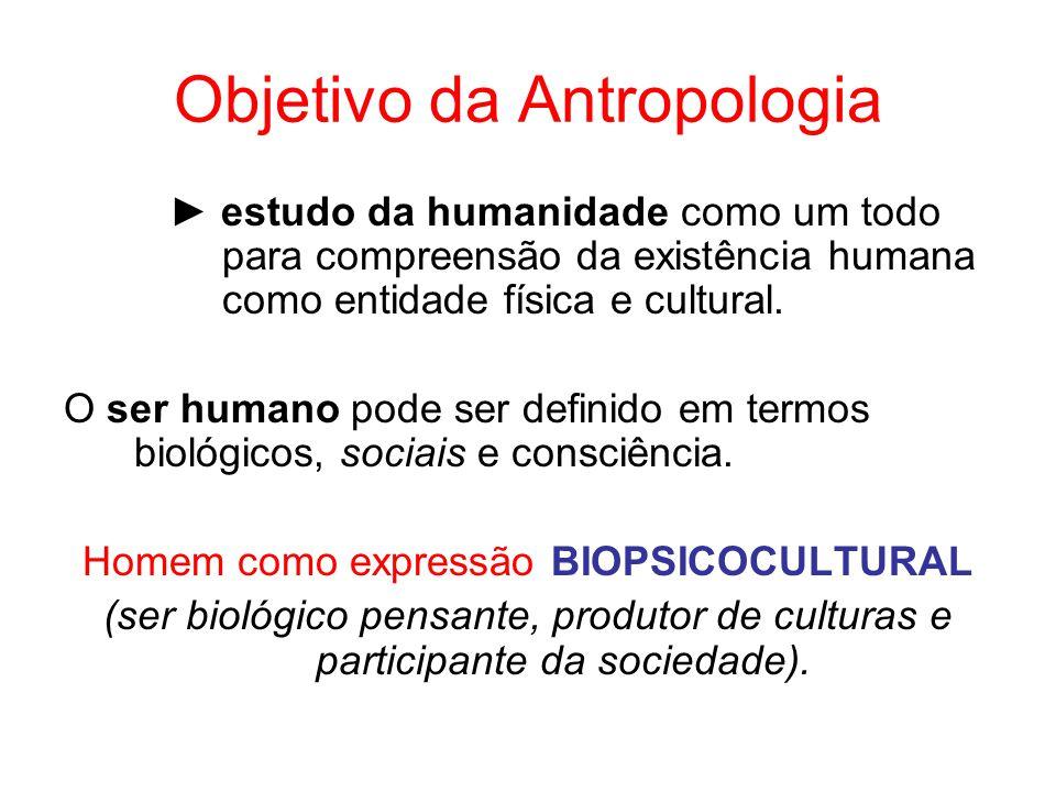 Objetivo da Antropologia estudo da humanidade como um todo para compreensão da existência humana como entidade física e cultural. O ser humano pode se