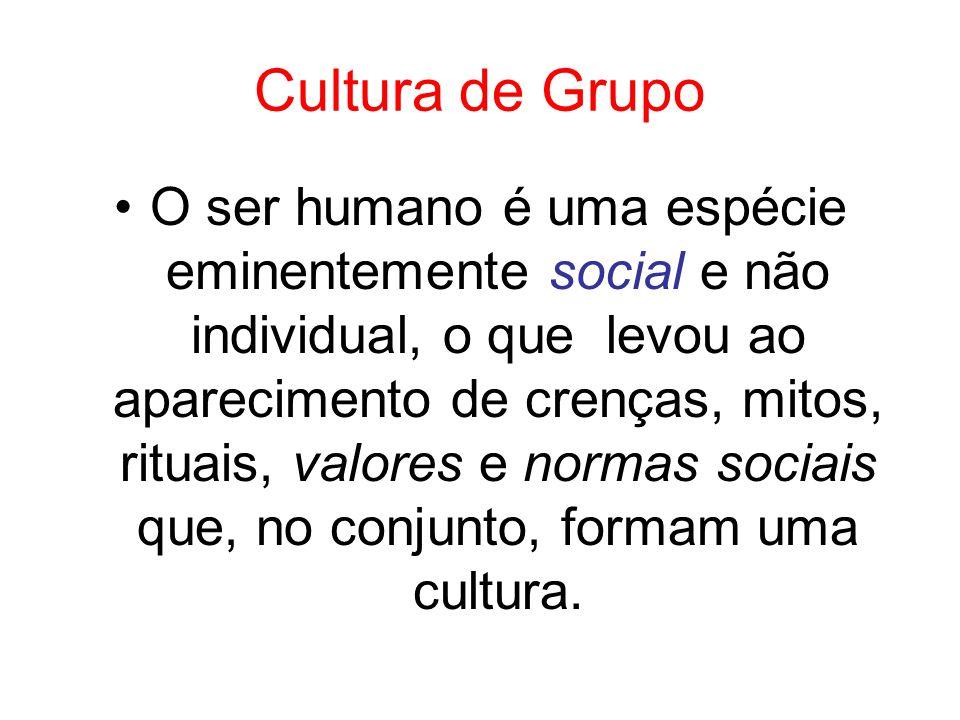 Cultura de Grupo O ser humano é uma espécie eminentemente social e não individual, o que levou ao aparecimento de crenças, mitos, rituais, valores e n