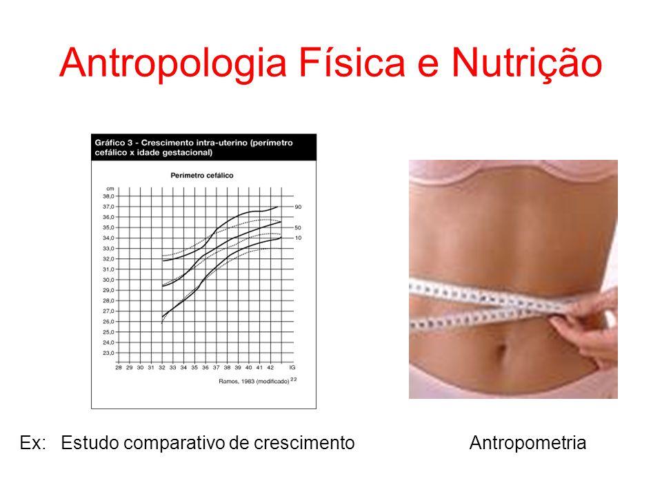 Antropologia Física e Nutrição Ex: Estudo comparativo de crescimento Antropometria