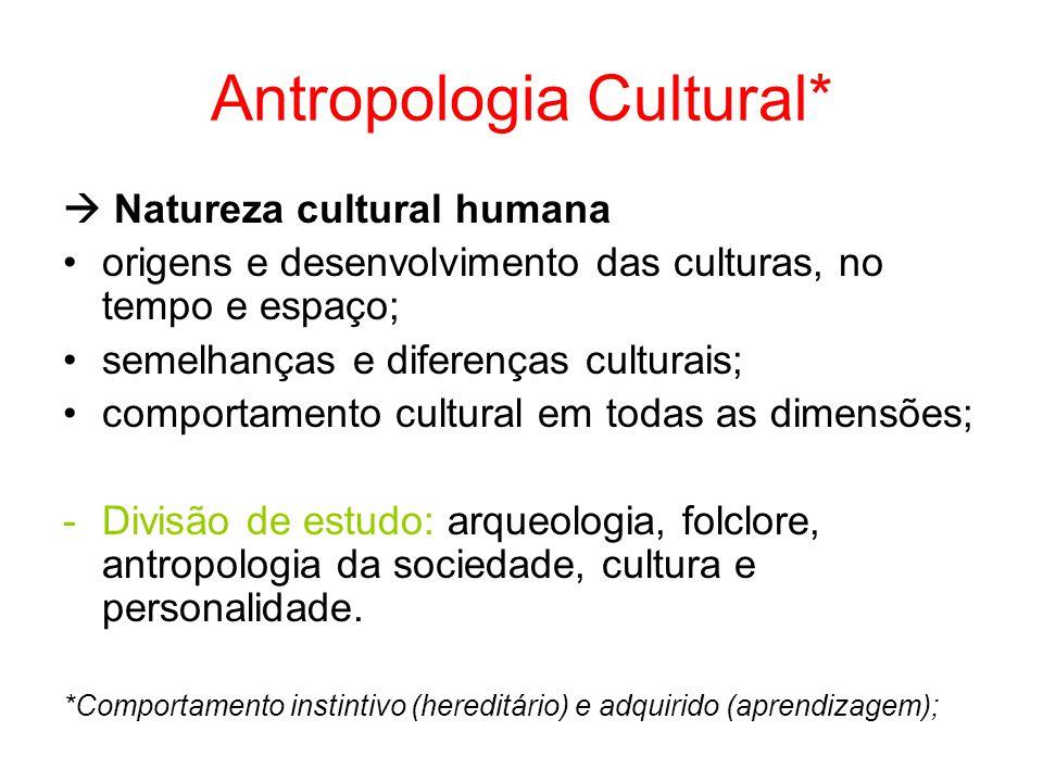 Antropologia Cultural* Natureza cultural humana origens e desenvolvimento das culturas, no tempo e espaço; semelhanças e diferenças culturais; comport