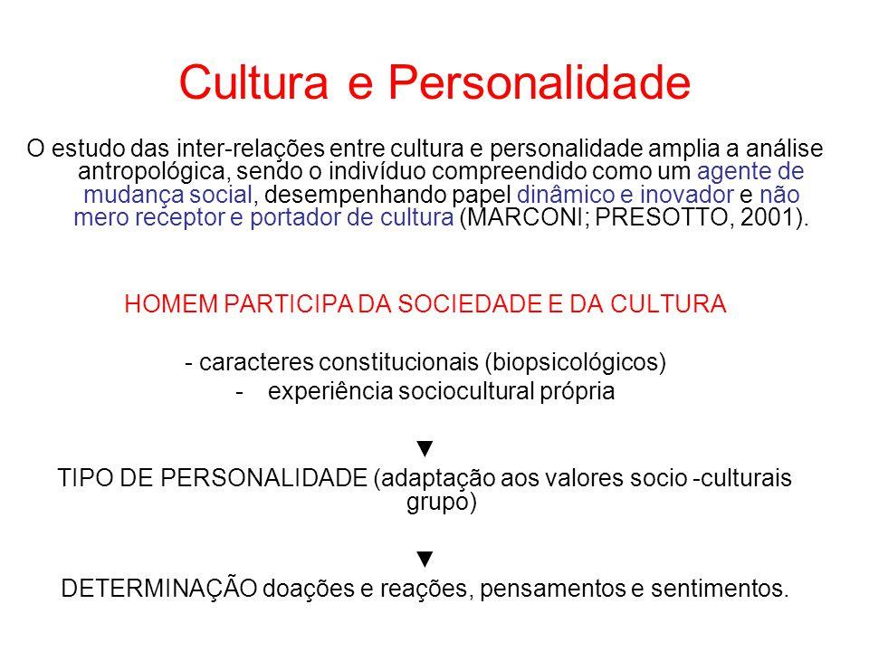 Cultura e Personalidade O estudo das inter-relações entre cultura e personalidade amplia a análise antropológica, sendo o indivíduo compreendido como