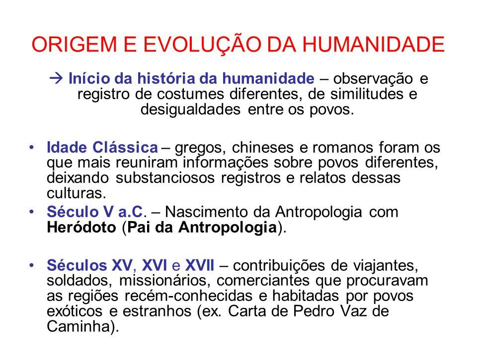 ORIGEM E EVOLUÇÃO DA HUMANIDADE Início da história da humanidade – observação e registro de costumes diferentes, de similitudes e desigualdades entre