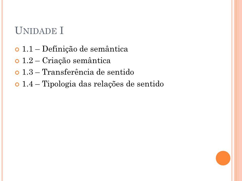 U NIDADE I 1.1 – Definição de semântica 1.2 – Criação semântica 1.3 – Transferência de sentido 1.4 – Tipologia das relações de sentido